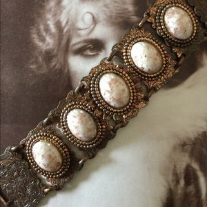 Vintage Filigree Copper Bracelet w Stone Cabochons